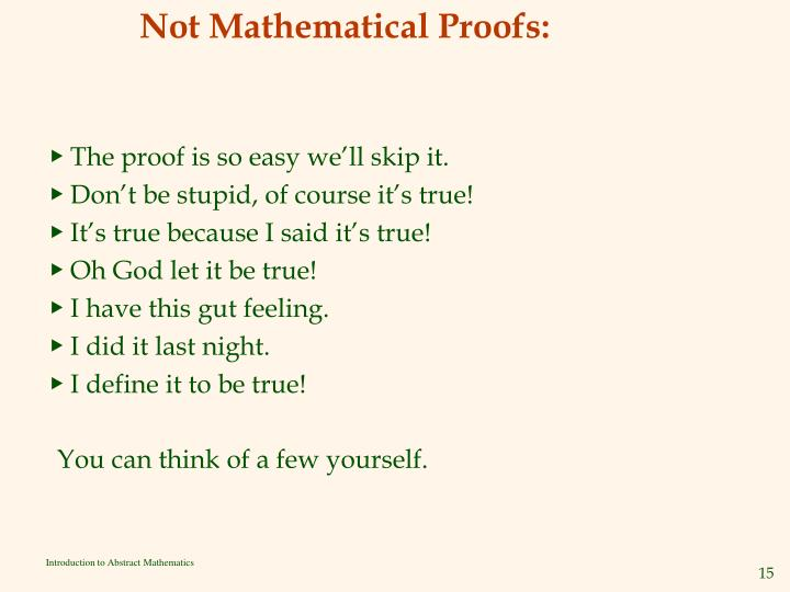 Not Mathematical Proofs: