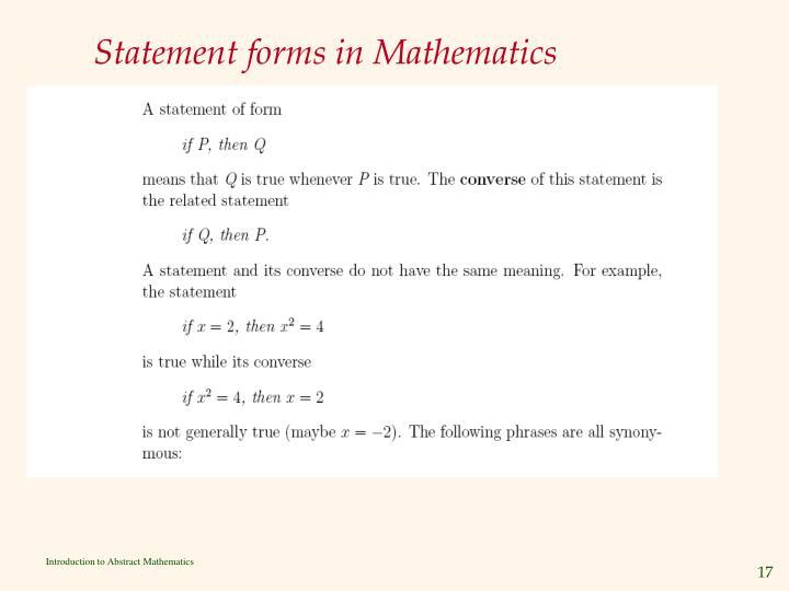 Statement forms in Mathematics