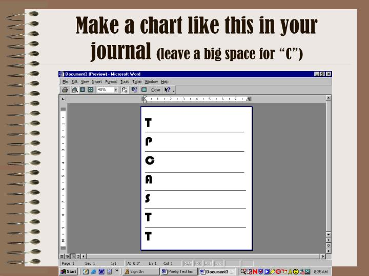 Make a chart like this in your journal leave a big space for c