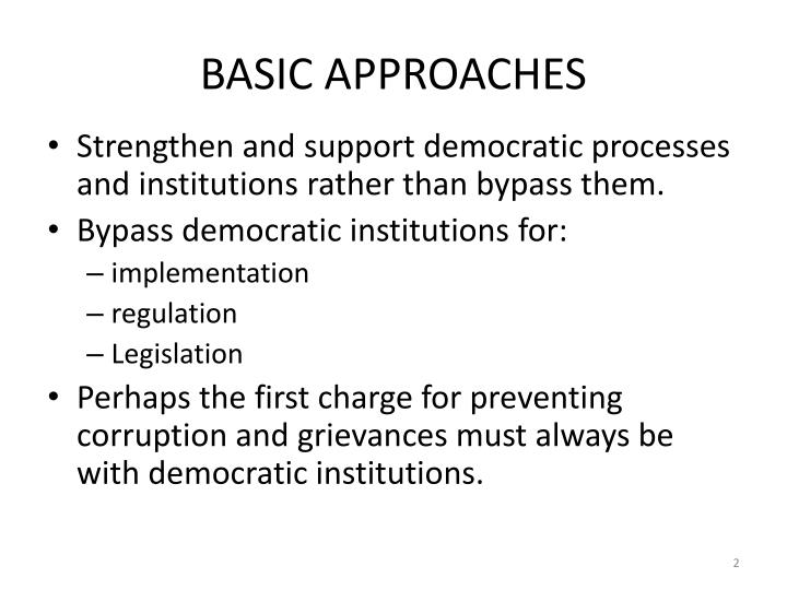 Basic approaches