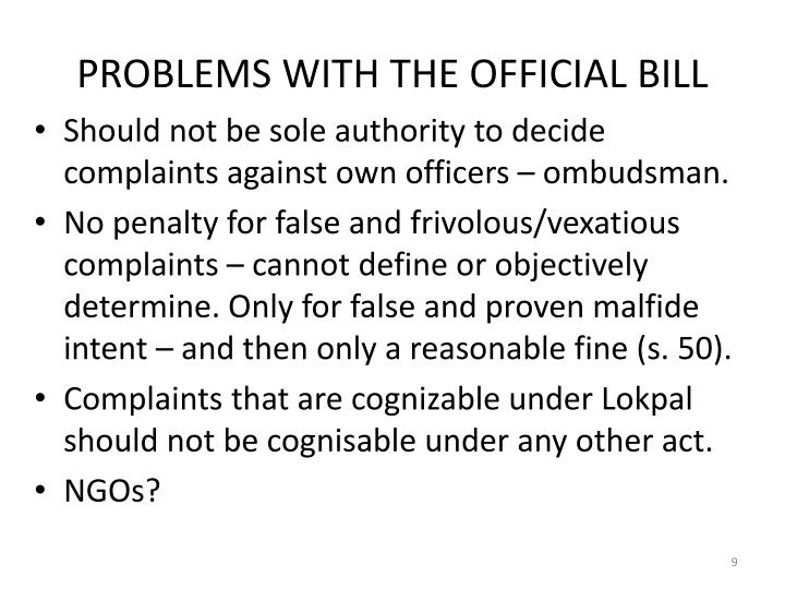 PROBLEMS WITH THE OFFICIAL BILL