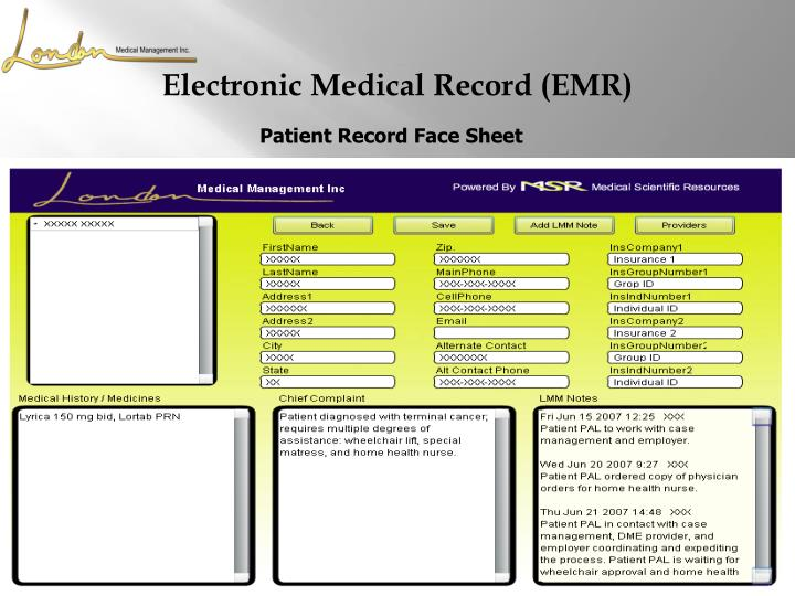 Patient Record Face Sheet