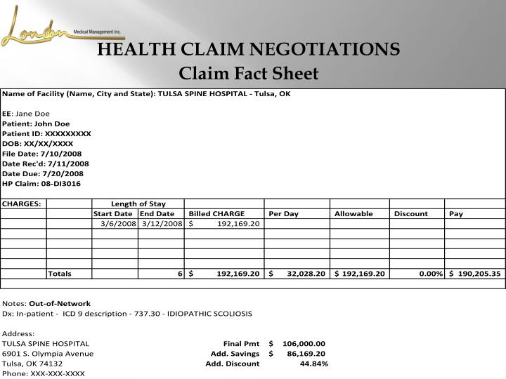 HEALTH CLAIM NEGOTIATIONS