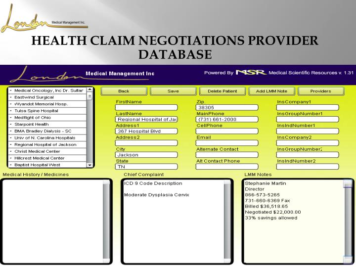 HEALTH CLAIM NEGOTIATIONS PROVIDER DATABASE