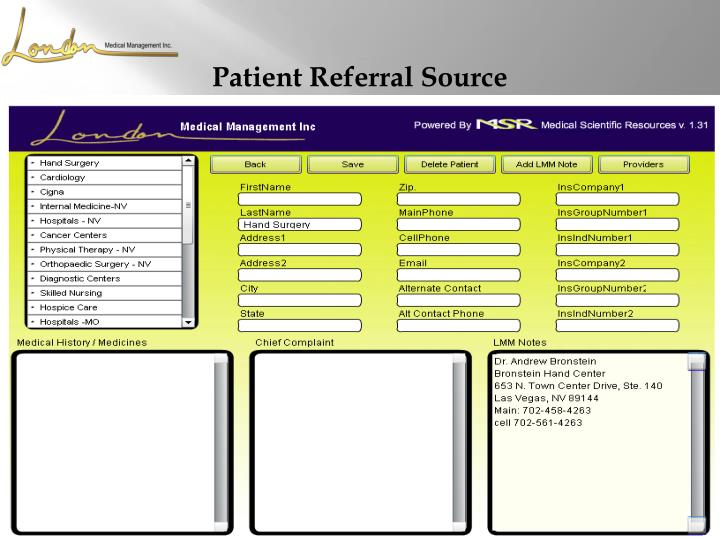 Patient Referral Source