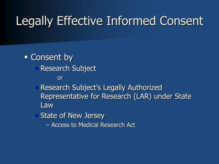 Legally Effective Informed Consent