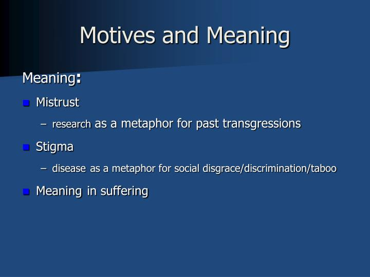 Motives and Meaning