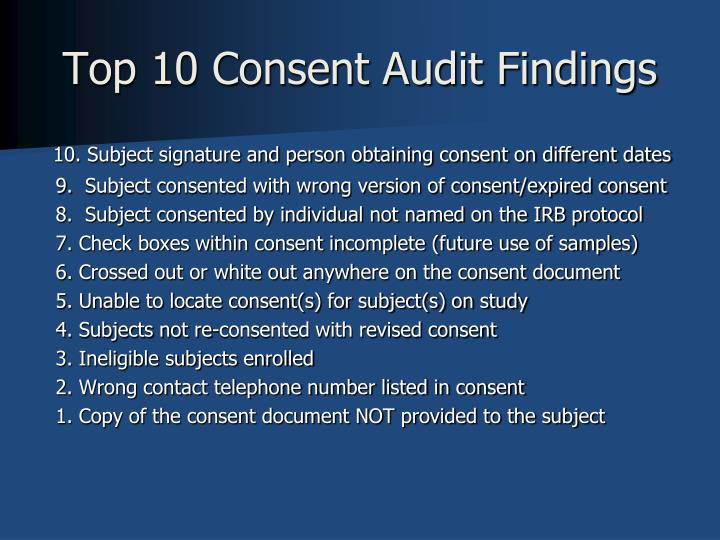 Top 10 Consent Audit Findings