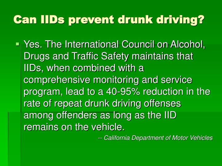 Can IIDs prevent drunk driving?
