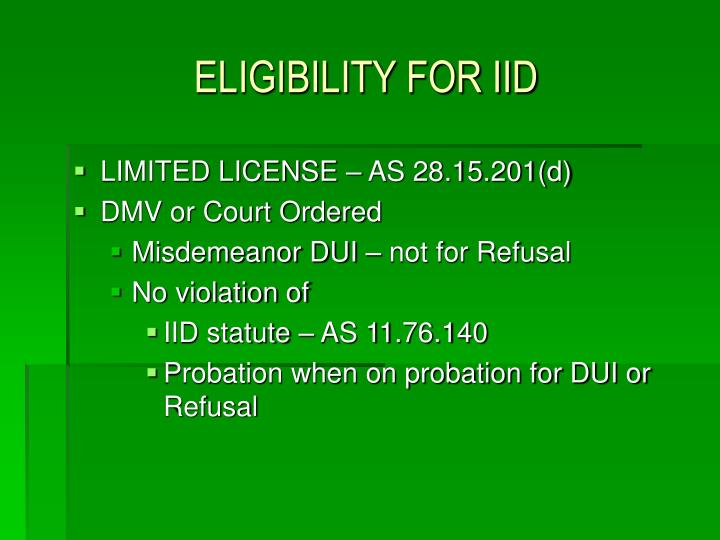 ELIGIBILITY FOR IID