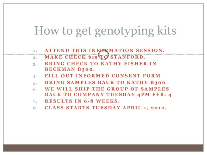 How to get genotyping kits
