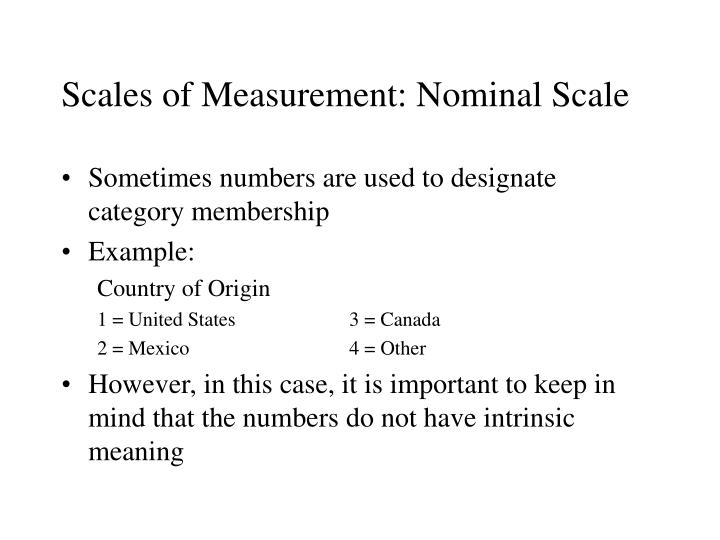 Scales of Measurement: Nominal Scale