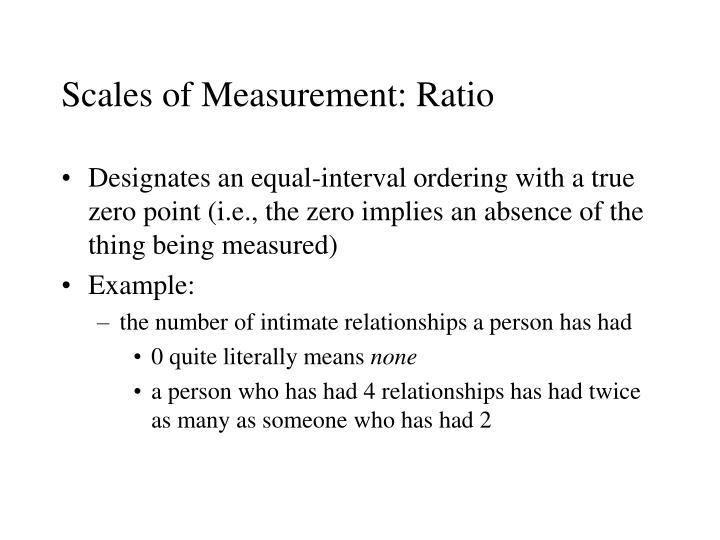 Scales of Measurement: Ratio