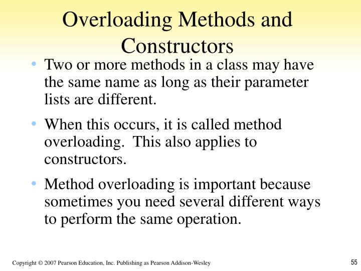 Overloading Methods and Constructors