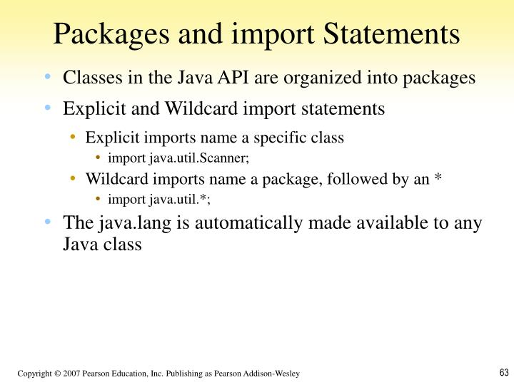 Packages and import Statements