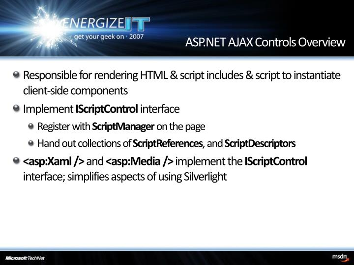 ASP.NET AJAX Controls Overview