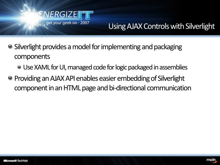 Using AJAX Controls with Silverlight