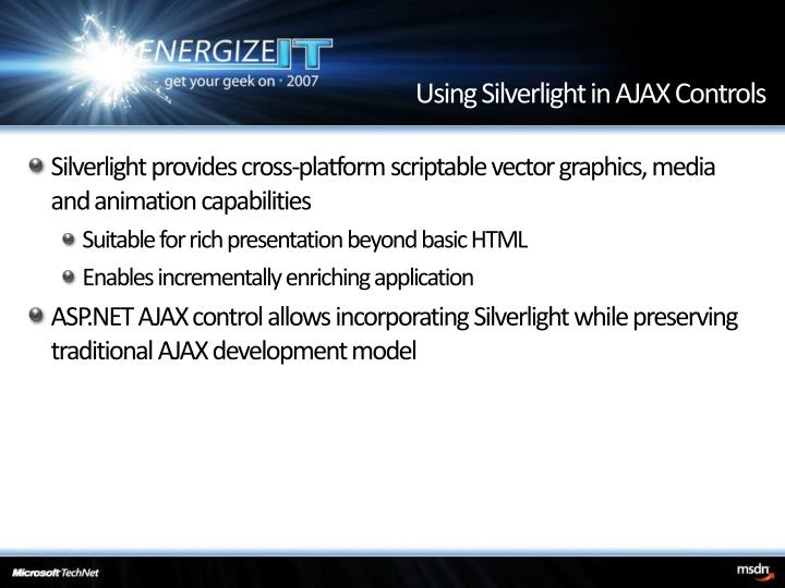 Using Silverlight in AJAX Controls