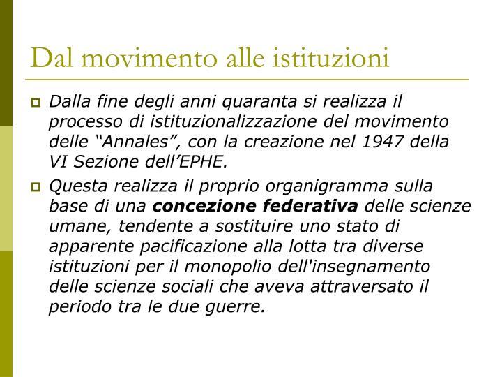 Dal movimento alle istituzioni