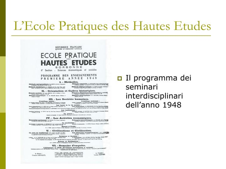 L'Ecole Pratiques des Hautes Etudes