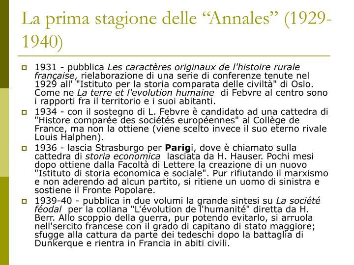 """La prima stagione delle """"Annales"""" (1929-1940)"""