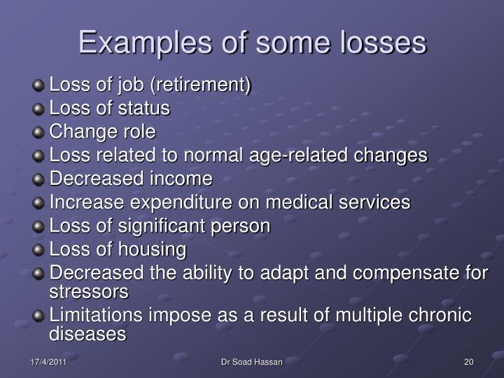 Examples of some losses