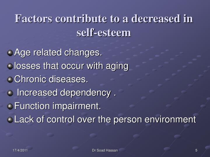 Factors contribute to a decreased in self-esteem