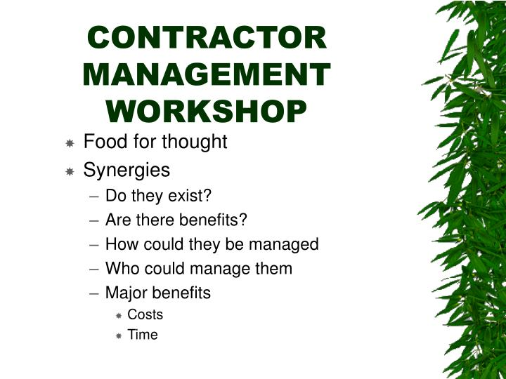 Contractor management workshop