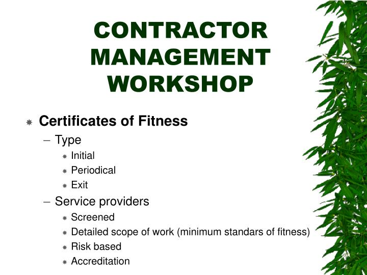 Contractor management workshop1