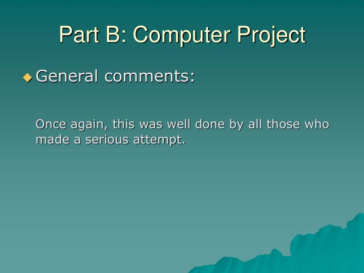 Part B: Computer Project