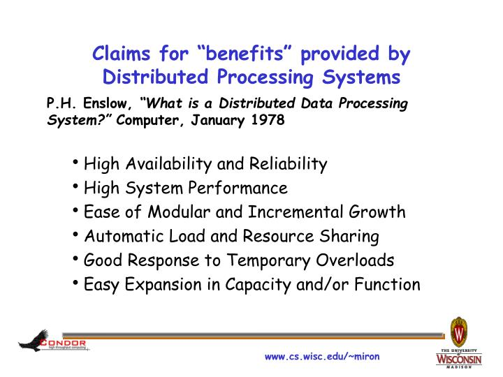 "Claims for ""benefits"" provided by Distributed Processing Systems"