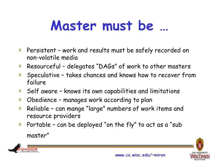 Master must be …