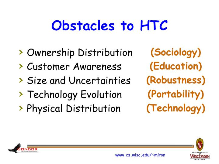 Obstacles to HTC