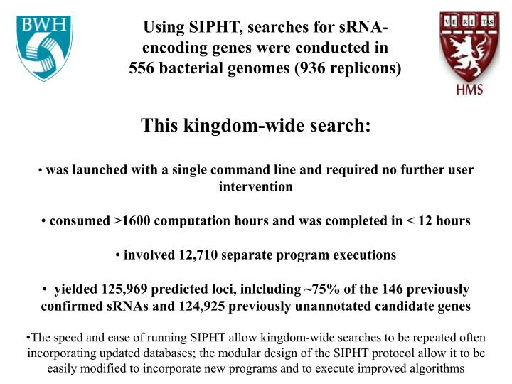 Using SIPHT, searches for sRNA-encoding genes were conducted in 556 bacterial genomes (936 replicons)