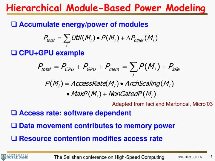 Hierarchical Module-Based Power Modeling