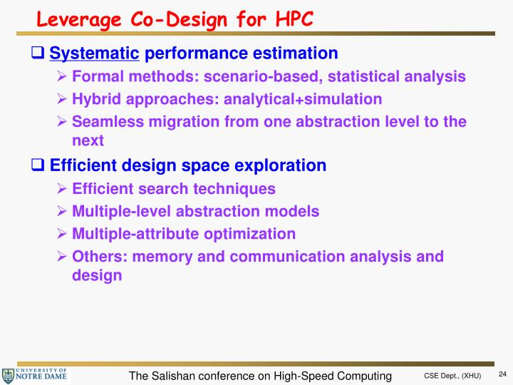 Leverage Co-Design for HPC