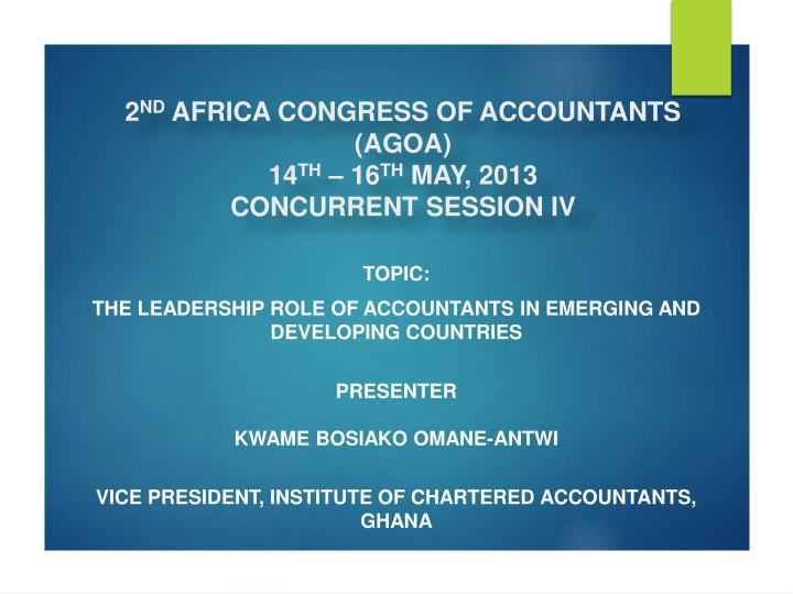 2 nd africa congress of accountants agoa 14 th 16 th may 2013 concurrent session iv
