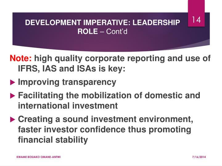 DEVELOPMENT IMPERATIVE: LEADERSHIP ROLE