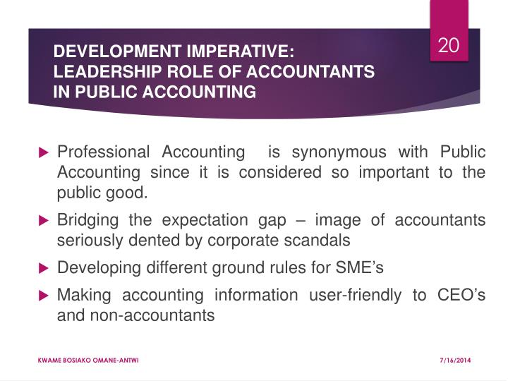 DEVELOPMENT IMPERATIVE: LEADERSHIP ROLE OF ACCOUNTANTS IN PUBLIC ACCOUNTING