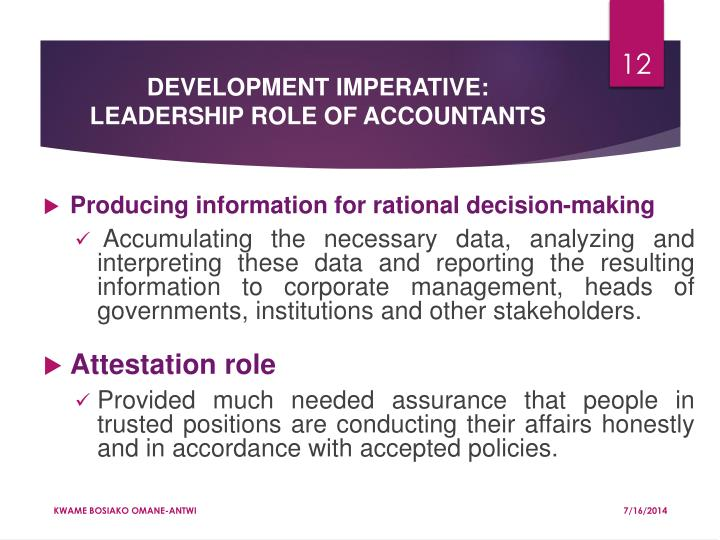 DEVELOPMENT IMPERATIVE: LEADERSHIP ROLE OF ACCOUNTANTS