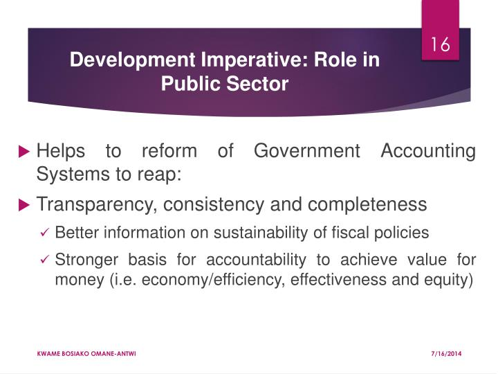 Development Imperative: Role in Public Sector