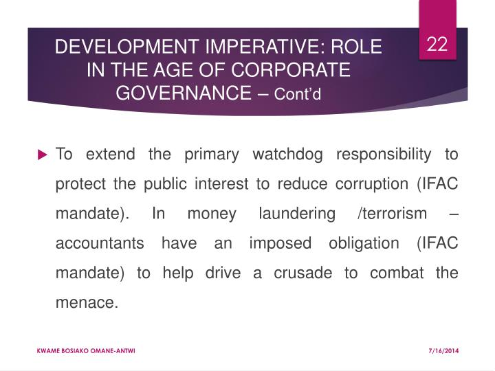 DEVELOPMENT IMPERATIVE: ROLE IN THE AGE OF CORPORATE GOVERNANCE –