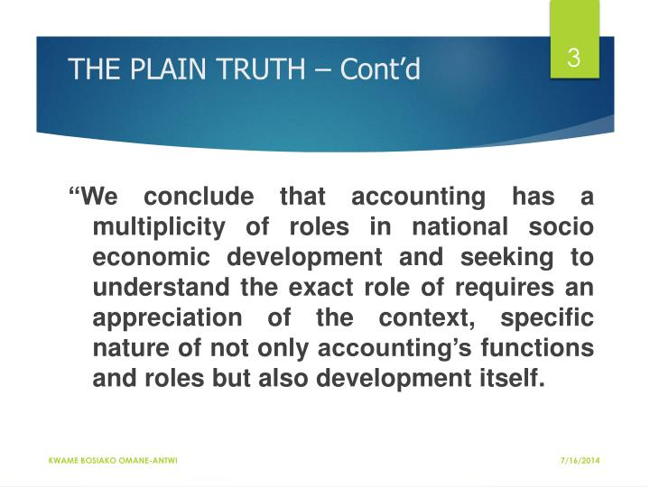 THE PLAIN TRUTH – Cont'd