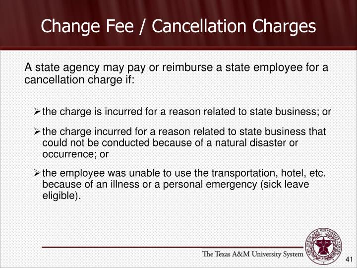 Change Fee / Cancellation Charges