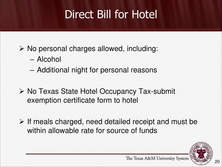 Direct Bill for Hotel