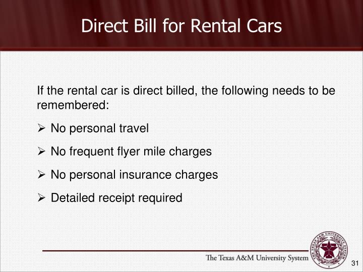 Direct Bill for Rental Cars