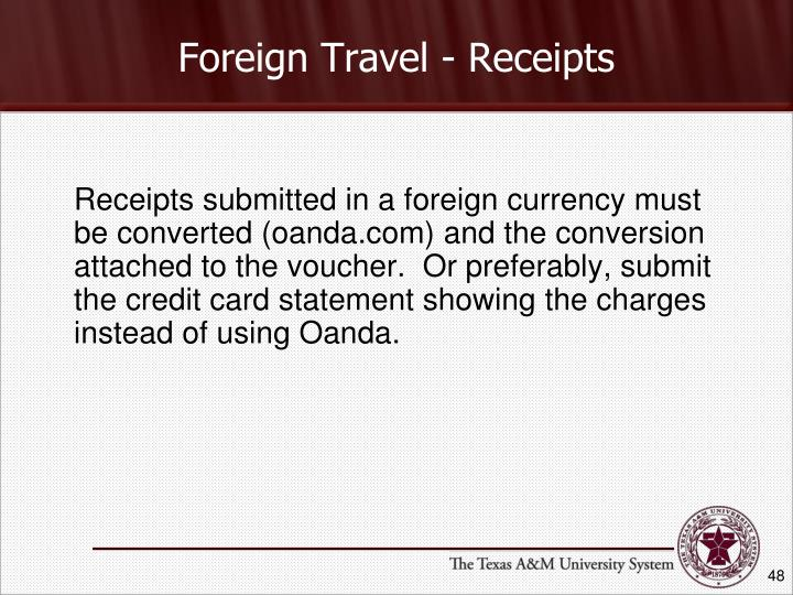 Foreign Travel - Receipts