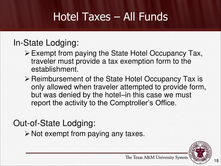 Hotel Taxes – All Funds