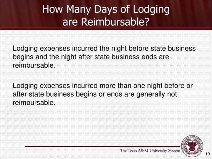 How Many Days of Lodging