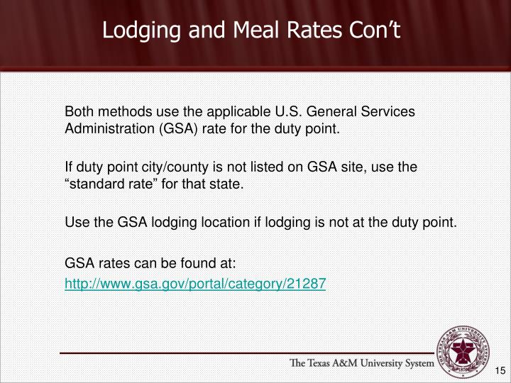 Lodging and Meal Rates Con't